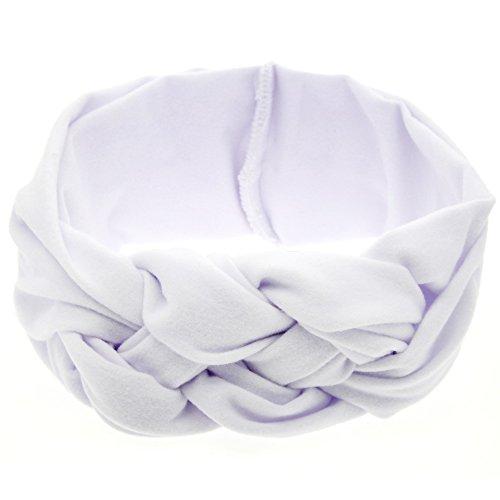 (LD DRESS Boho Floal Style Women Elastic Flower Printed Turban Head Wrap Headband Twisted Hair Band (White) )