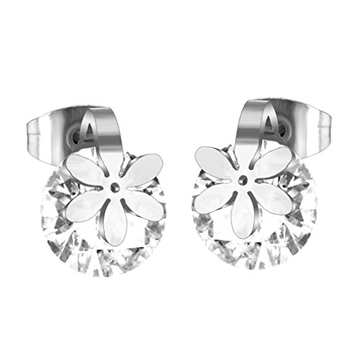 fonk: Crystal with Beautiful Flower Earrings Stainless Steel Earrings With Gem Circle Crystal Diamond Stud Earrings