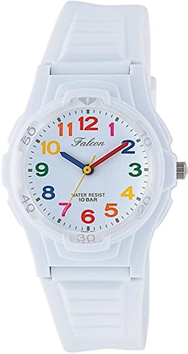 [해외] [시티즌 큐 앤드 큐]CITIZEN Q&Q 손목시계 FALCON 팔콘(Falcon) 아날로그 표범시 10기압 방수 우레탄 벨트 화이트 멀티 컬러 VS06-001