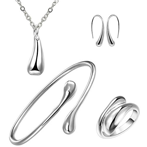 BOHG Jewelry Womens 925 Sterling Silver Plated Teardrop Bracelet Ring Earrings Pendant Necklace 4pcs Set