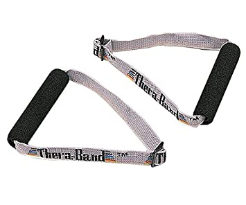 TheraBand Soft Handles Pair, Accessories for Elastic Resistance Bands & Tubes, Exercise Equipment for Home Gym Workout, Overhead Strength Training, Stretching, Use with Over The Door Anchor Exerci at amazon