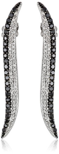 10k White Gold Black and White Diamond Swirl Earrings (3/4 cttw, I-J Color, I2-I3 Clarity)
