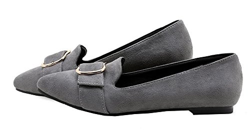 Amoonyfashion Donna Punta A Punta Chiusa Senza Tacco Smerigliato Scarpe Rigide-scarpe Grigie