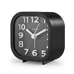 "Alarm Clock, Chelvee 2"" Quartz Analog Travel Alarm Clock with Night Light, Ultra Small, Silent with No Ticking (Black)"