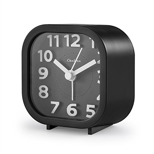 "Alarm Clock, Chelvee 2"" Quartz Analog Travel Alarm Clock with Night Light, Ultra Small, Silent with No Ticking (Black)"