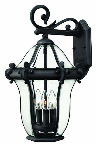 (Hinkley 2444MB Traditional Three Light Wall Mount from San Clemente collection in Blackfinish,)