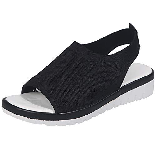 Women's Athletic Walking Shoes Casual Mesh Comfortable Work Sneakers ,Londony Casual Espadrilles Trim Open Toe Sandal Black