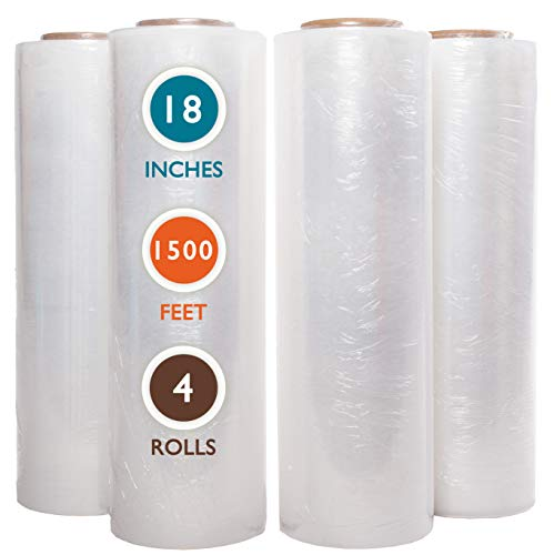 "4 Rolls 18"" x 1500 Ft Stretch Wrap Heavy Duty, Industrial Strength Shrink Wrap, 55 Gauge High Performance Stretch Film Replaces 80 Gauge Low Films, Clear Hand Stretch Wrap"