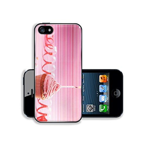 MSD Premium Apple iPhone 5 iphone 5S Aluminum Backplate Bumper Snap Case IMAGE ID 31929925 Birthday cupcake with butter cream and candle on colorful background