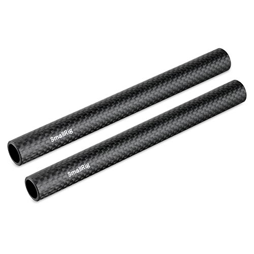 SMALLRIG 15mm Carbon Fiber Rods - 6 Inches for 15 mm Rod Support System (Non-Thread), Pack of 2-1872 ()