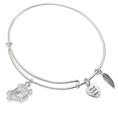 Enni of York Tortoise,Sea Turtle Charm Expandable Silver-Tone Bangle Bracelet