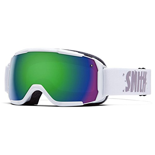 - Smith Optics Grom Youth Junior Series Ski Snowmobile Goggles Eyewear - White / Green Sol X Mirror / Medium