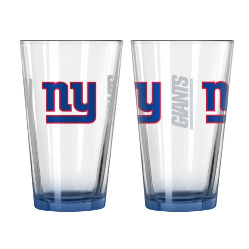 New York Giants Glass - Boelter Brands NFL New York Giants Elite Pint Glass, 16-ounce, 2-Pack