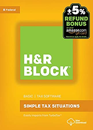 H&R Block Tax Software Basic 2016 Mac + Refund Bonus Offer