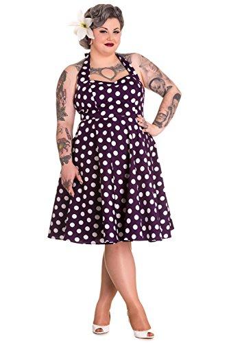 Hell-Bunny-Plus-Pin-up-Rockabilly-Purple-Polka-Dot-Retro-Mod-Halter-Party-Dress