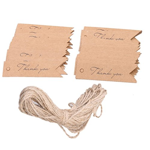 Tinksky Kraft Paper Wedding Favor Gift Hang Label Luggage Tags with String Thank you Letter,Pack of 100