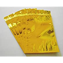Gold Aluminum/foil Pouches, Mylar Ziplock Heat Seal Bags, Safe Food Storage, Smell Proof Product Packaging, Reusable Durable, Survivalist Baggies (Herbs Seeds Tea Coffee Snacks Pharma) (50, 4.75x7)