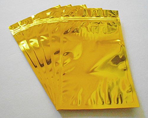 Gold Aluminum/foil Pouches, Mylar Ziplock Heat Seal Bags, Safe Food Storage, Smell Proof Product Packaging, Reusable Durable, Survivalist