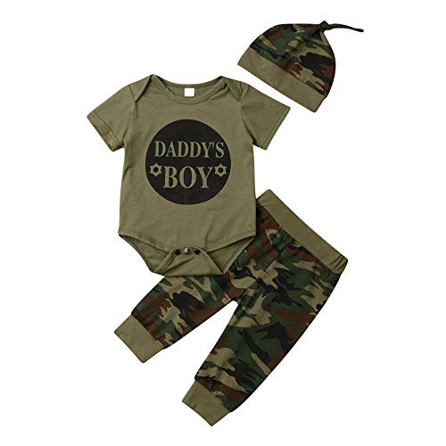 Camouflage Infant Baby Boy Girl Clothes 3Pcs Outfit Set,Short Sleeve Bodysuit Tops+Long Pants+Hat (0-6 Months,Daddys BOY) (Clothes Baby Cutest)