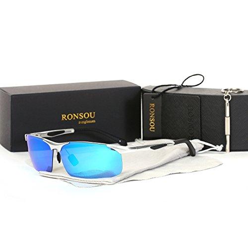 Ronsou Men's Sport Aluminium-Magnesium Polarized Sunglasses For Driving Cycling Fishing Golf Glasses silver frame/blue - Frame Sunglasses Aluminium