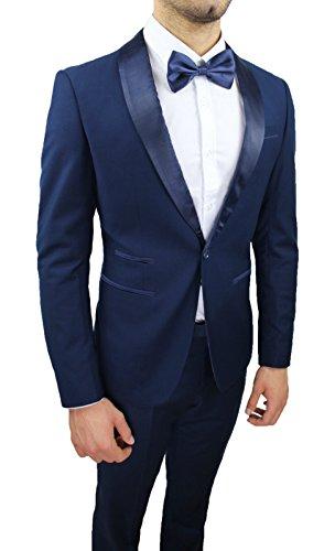 Elegante Uomo Aderente Sartoriale Slim Abito Blu Fit Raso Nuovo Tessuto Completo I5x4C
