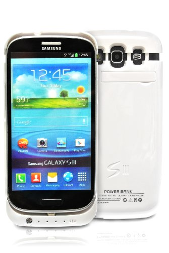 Samsung Galaxy S3 i9300 PowerBank External High Capacity (2200 mAh) Battery Power Pack Case / Cover (With Media Kick Stand) (White)