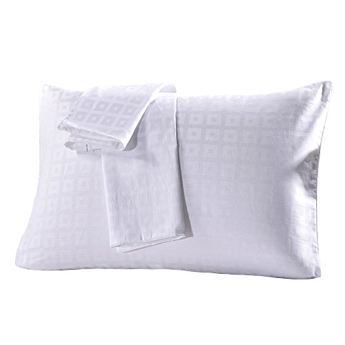 MELEARN 100% Cotton Pillowcases,Set of 2,Zippered Pillow Protectors,Luxury Hotel Quality (Queen, White Checked) by MELEARN (Image #5)