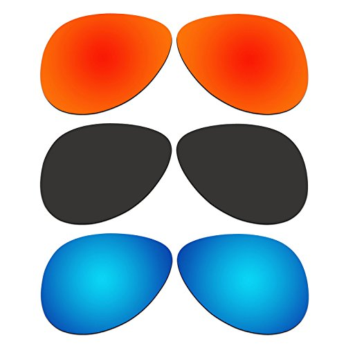 3 Pair ACOMPATIBLE Replacement Polarized Lenses for Oakley Elmont Medium 58mm Sunglasses OO4119-xx58 Pack - Oo4119