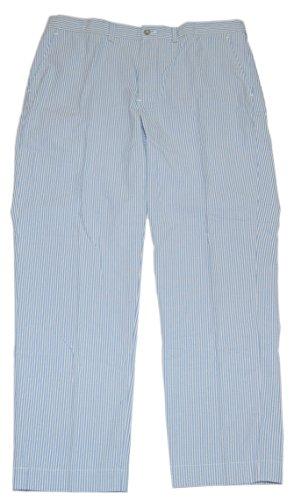 RALPH LAUREN Polo Mens Seersucker Preston Flat Front Pants Blue Stripe (Seersucker Flat Front Pants)