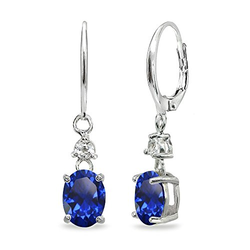Sterling Silver Created Blue Sapphire & White Topaz 8x6mm Oval Dangle Leverback Earrings