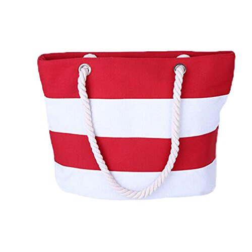 Inpluer Women's Travel Tote Beach Bag with Large Capacity and Inner Zipper with Rope Handles Tote Bag … (Red) (Stripe Tote White)
