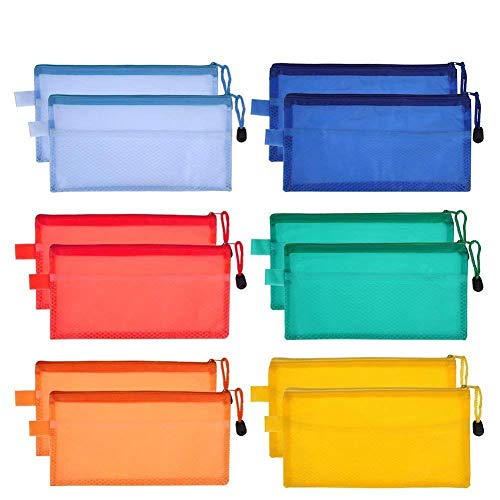 Feihoudei 24 Pieces 6 Colors Plastic Zipper File Bags Waterproof Plastic Double Layer for Cosmetic Makeup Office Supplies and Travel Accessories