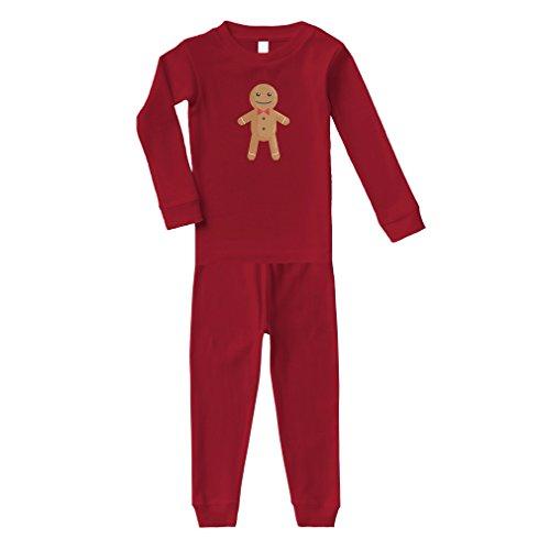 Gingerbread Cotton Long Sleeve Crewneck Unisex Infant Sleepwear Pajama 2 Pcs Set Top and Pant - Red, 6 Months