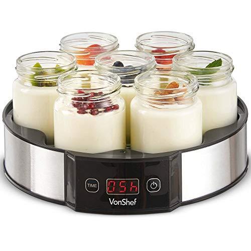 VonShef Digital Yoghurt Maker with 7 Jars – Stainless Steel Machine/Glass...