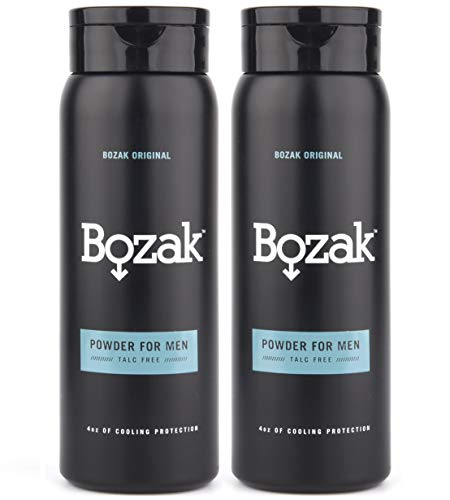 (Bozak Original Cooling Body Powder for Men - 4 oz. Talc-Free, Absorbs Sweat, Stops Chafing, Keeps Skin Dry - Antifungal, Jock Itch Defense Deodorant with Menthol - 2 pack)