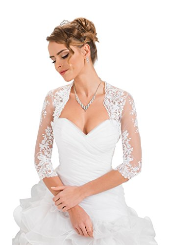 - Wedding Bridal Lace Bolero Shrug Jacket Stole Shawl Ivory