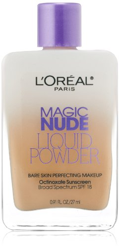 - L'Oreal Paris Magic Nude Liquid Powder Bare Skin Perfecting Makeup SPF 18, Creamy Natural, 0.91 Ounces