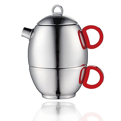 Minos Stunning Polished Teapot And Cup For One Set - 8.5 OZ - Stainless Steel And Silicon Handle