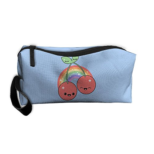 Ming Horse Cute Cherry Light Rainbow Smile Small Travel&home Portable Make-up Receive Bag Hand Cosmetic Bag
