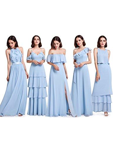 Blau Ever Kleid Lang Damen C Elegant Pretty Brautjungfern 07201 8Rq8fvw