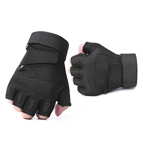 (Leegem Best Specialized Black Hard Knuckle Road Cycling Mountain Bikes BMX Weightlifting Boxing Rock Climbing Shooting Hunting Tactical Training Motorcycles Riding Gloves for Adults/Youth (Black, M))
