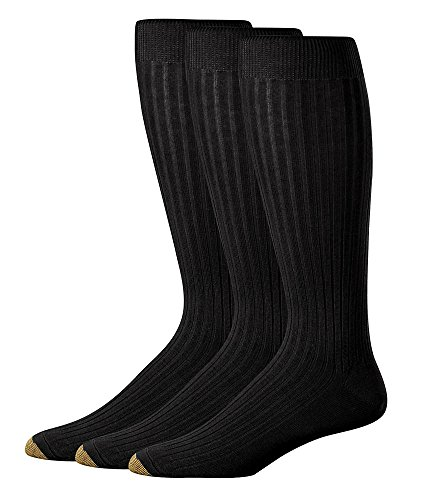 - Gold Toe Over The Calf Dress Socks 3-Pack Extended Sizes, One Size, Black