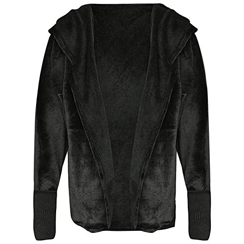 EbuyChX Hooded Long Sleeve Faux Fur Fleece Open Front Solid Color Coat Women H Black M