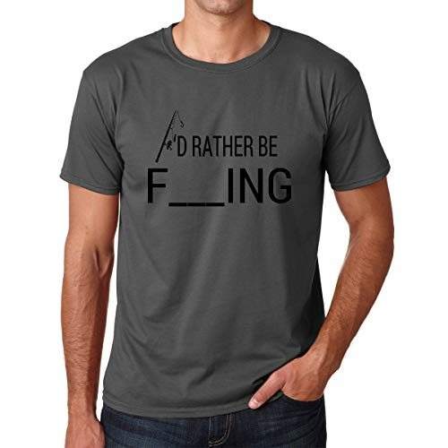 I'd Rather Be Fishing - Fisherman Humor Fish Tee Funny Deep Novelty Anti Social - Premium Men's Tshirt (Charcoal, XX-Large)