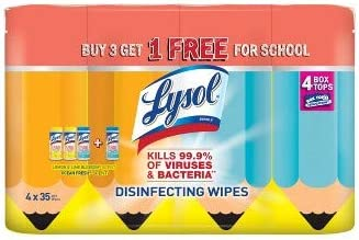 School Total 140 Wipes Office Lysol Disinfecting Wipes Kills Viruses and Bacterias Lemon Lime and Ocean Fresh Scent Great Disinfectant for Home