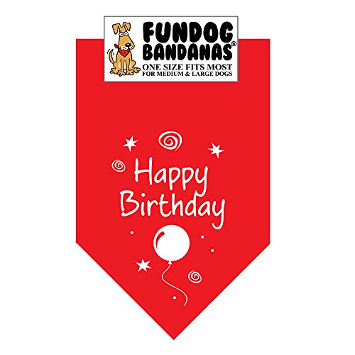 Happy Birthday Dog Bandana (One Size Fits Most for Medium to Large Dogs, Red) ()