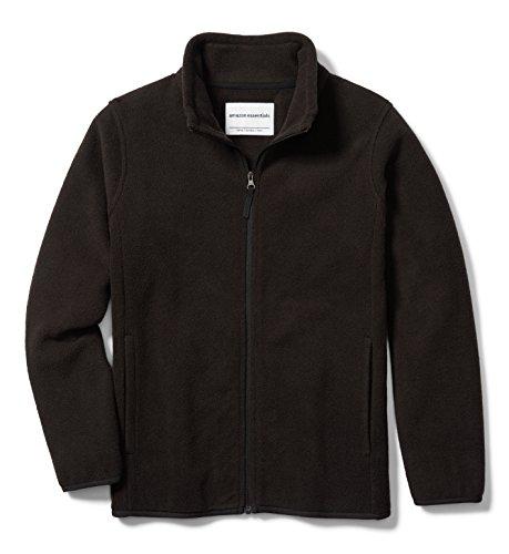 Amazon Essentials Big Boys' Full-Zip Polar Fleece Jacket, Black, Medium