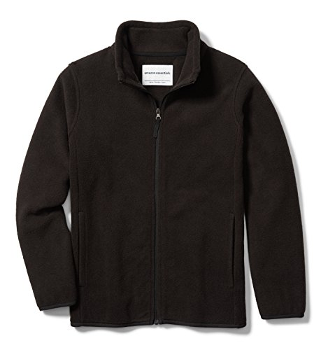 Amazon Essentials Big Boys' Full-Zip Polar Fleece Jacket, Black, Large
