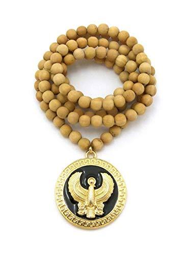 (Werrox New Egyptian Horus Bird Round Pendant 8mm/36 Wooden Bead Chain Necklace RC1933 | Model NCKLCS - 6926 | )