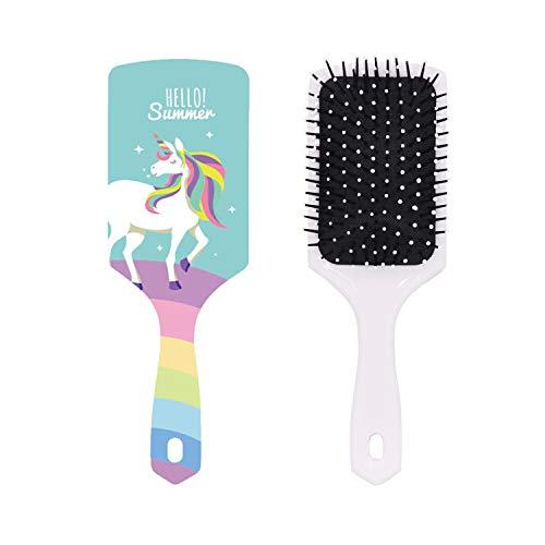 Unicorn Hairbrush, Blue Hair Detangler Brush Handmade Comb with Rainbow Paddle Soft Nylon Bristle & Air Cushion Brush Wave Frizzy Long Thick Fine Hair Smoothing Straightener Brush for Women Girls